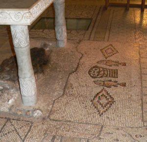 Mosaik in der Brotvermehrungskirche in Tabgha am See Genesareth, Israel