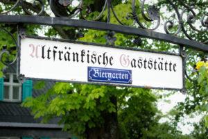 Vierzehnheiligen-Exkursion 2017, Biergarten bei der Wallfahrtskirche